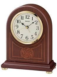 seiko brown alder wooden mantel clock