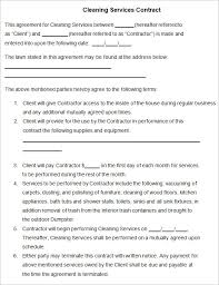 Sample Cleaning Contract Agreement Commercial Cleaning Service Contract Template Cleaning Contract