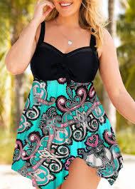 Modlily Size Chart Plus Size Paisley Print Handkerchief Hem Swimdress And Shorts Modlily Com Usd 27 95