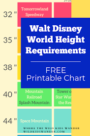 Wdw Height Chart Walt Disney World Ride Height Requirements Where The Wild