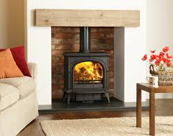matt black multi fuel huntingdon 40 stove with clear door and optional short legs burning logs