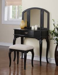 furniture gorgeous black wood makeup vanity stool including black queen anne vanity legs attractive modern