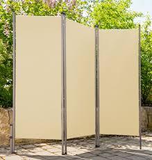 Outdoor Paravent Creme Beige Metall Stoff Sichtschutz Windschutz