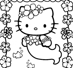 Small Picture Hello Kitty Mermaid Coloring Pages In glumme