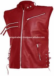 new fashion leather biker vest for men latest design red leather vest