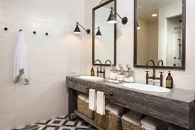 Country Style Bathroom with Reclaimed Wood Dual Vanity Country