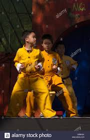 young chinese kung fu fighters demonstrate their skills during tet festival garden grove california