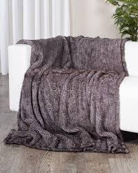 grey knit mink fur throw  blanket fursourcecom