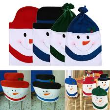 household dining table set christmas snowman knife: new  pcs set christmas dining room chairs covers snowman chair back cover xmas decorations