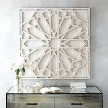 white carved wall decor wood whitewashed art