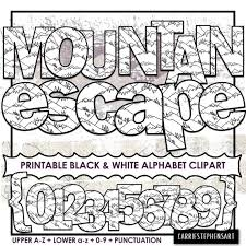 Printable letters of the alphabet. Mountain Printable Alphabet Clipart School Bulletin Board Letters Black White Coloring Letters Print And Color Png Digital Alpha By Carriestephensart Catch My Party