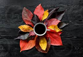 Fall coffee design resources · high quality aesthetic backgrounds and wallpapers, vector illustrations, photos, pngs, mockups, templates and art. Overhead Flat Lay Photo Of A Cup Of Black Coffee On Wooden Background Fall Autumn Leaves By Marko Klaric Photo Stock Snapwire
