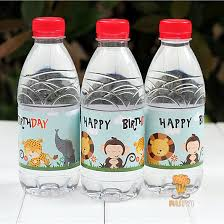 Decorating Water Bottles For Baby Shower 100pcs Wild Animals Lion water bottle label candy bar decoration 96