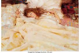 RICHARD ALAN SCHMID (American, b. 1934). Nancy Sleeping, 1989. Oil ...