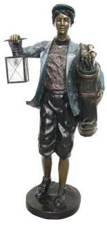 bronze boy golf caddy with lantern statue available at allsculptures lost wax casting