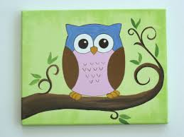 cute canvas painting this friendly colorful little owl is sitting high up in her tree