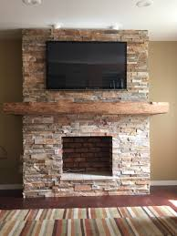 diy stone veneer fireplace home decor how to attach mantle brick