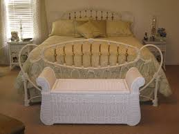 White Polished Wrought Iron Queen Bed Frame Which Mixed With