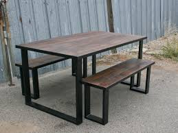 modern dining table with bench. Vintage Industrial Bench Modern Dining Table With