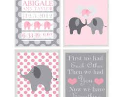 Small Picture Elephant pink gray Etsy