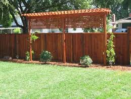 Easy trellis to add privacy to backyard along fence line. Would bring  lattice down further