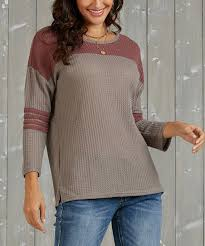 love this taupe vintage rose color block rugby top women plus