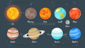 vector cartoon style set of solar system planets dark e background