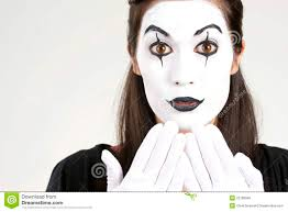 speak no evil female clown white face makeup