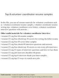 Volunteer Coordinator Resume