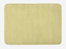 grey and yellow bath mat circus tent inspired vintage retro stripes modern image plush bathroom decor mat with non slip backing 23 6 w x 15 7 w inches