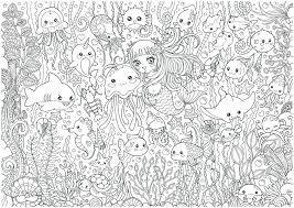 Underwater Party Doodle Da Colorare In Stile Chibikawaii Flickr