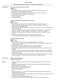 Resume Education Examples Higher Education Resume Samples Velvet Jobs