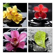 banmu zen basalt canvas wall art set of 4 orchid flower canvas prints for home decoration peaceful zen flower in stone wall art in painting calligraphy  on canvas wall art sets of 4 with banmu zen basalt canvas wall art set of 4 orchid flower canvas