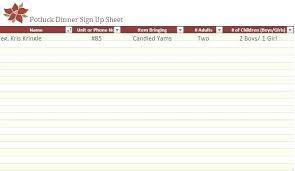 Potluck Dinner Sign Up Sheet Template Free Spreadsheet
