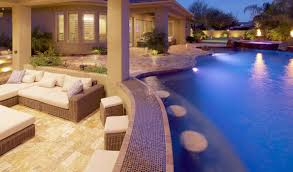 Pool designs with swim up bar Patio Bet You Thought Swimup Bars Were Something Only Seen At Resorts It Turns Out You Might Not Be Hanging Out With The Right Crowd Unique Landscapes Unique Swim Up Bars Phoenix Landscaping Design Pool Builders