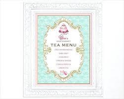 Menu Template Afternoon Tea Vintage Designs Pages Docs Free