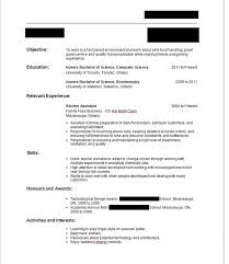 Homey Inspiration First Job Resume No Experience Waitress Hotel