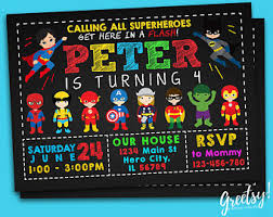 superheroes party invites superhero invitation etsy