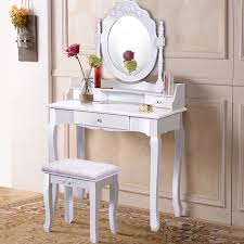 costway white vanity wood makeup dressing table stool set bathroom with mirror 3 drawer