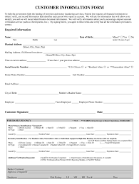 Microsoft Word Application Form Template Customer Information Form Template Microsoft Word Fill