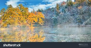 outdoor nature photography. Beautiful Colored Trees With Lake In Autumn, Landscape Photography. Late Autumn And Early Winter Outdoor Nature Photography
