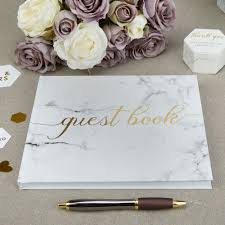 Wedding Guest Book Scripted Marble Wedding Guest Book