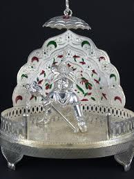 Laddu Gopal Jewellery Designs Silver Laddu Gopal Singhasan