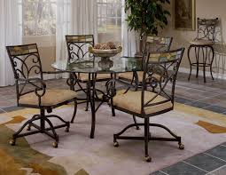 kitchen table and chairs with wheels. Home Interior: Hurry Kitchen Table With Swivel Chairs Casual Sunset Oak Finished Dining 4 Chenille And Wheels W