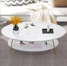 finish gold metal oval coffee table