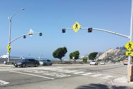 caltrans will replace this blinking pedestrian light with a safer one at 16521 pch