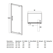 700 to 900mm Walney Pivot Shower Door £125 at Cheap Suites
