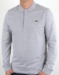 lacoste lacoste long sleeve polo shirt silver chine