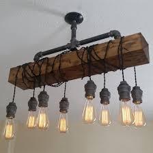 industrial rustic 8 light wood beam plumbing pipe hanging exposed bulb metal pendant light