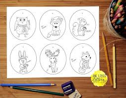 Gift Tag Coloring Page Animal Gift Tag Printable Children Adult Coloring Page